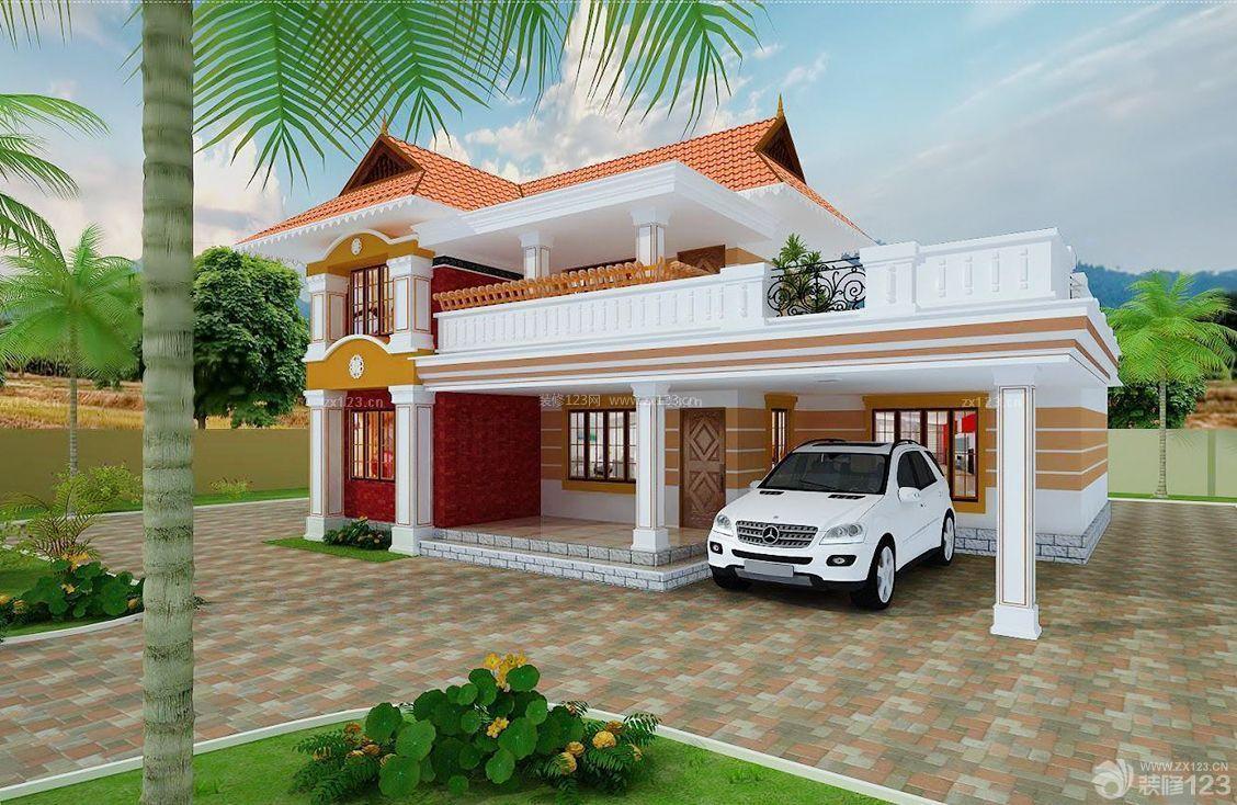 最新亚热带欧式120平米农村别墅设计图图片