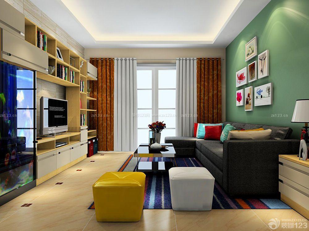 温馨三室一厅110平米客厅装修样板房_装修123效果图