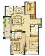 最新120平米小别墅三室两厅二卫户型图