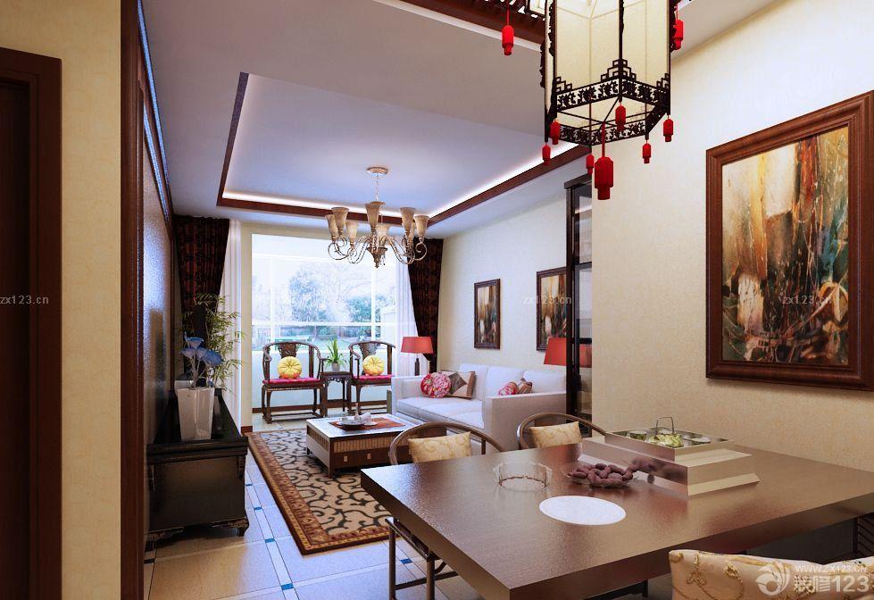 现代中式风格80平米两室两厅装修效果图图片