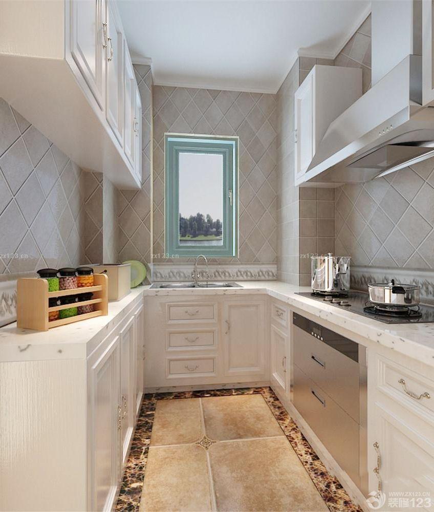 简欧风格130平米三室两厅室内厨房橱柜装修效果图图片