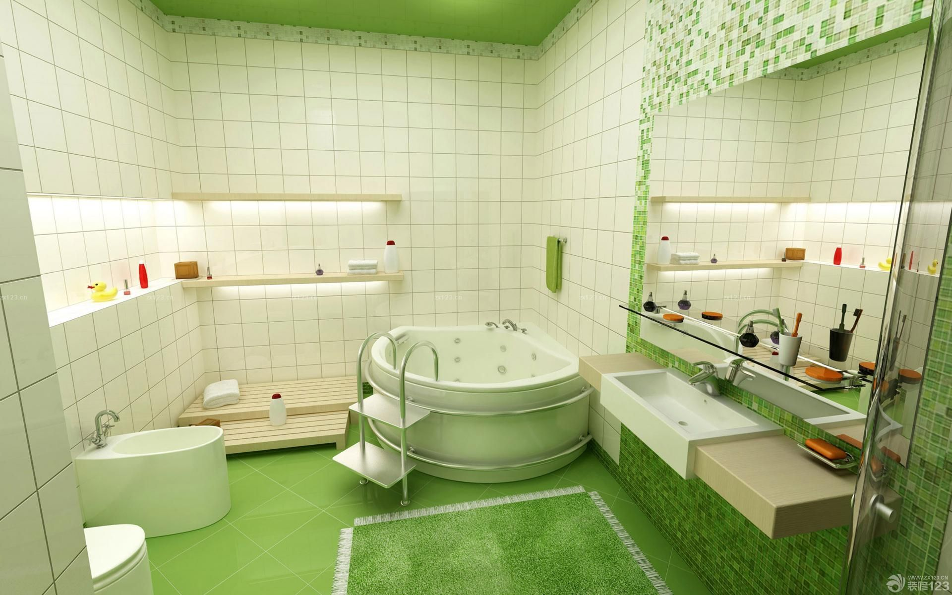 浴室洗手间绿色瓷砖设计图