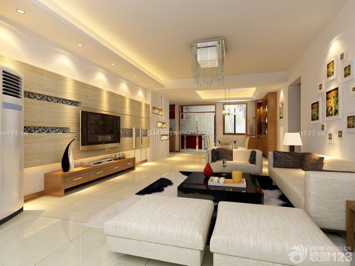 现代简约120平方米房子装修设计图_装修123效果图