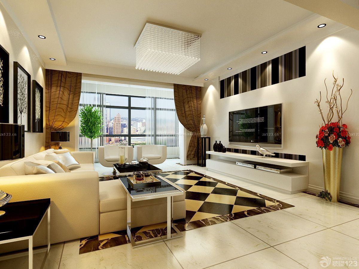 最新简约黑白120平米房子装修设计图_装修123效果图