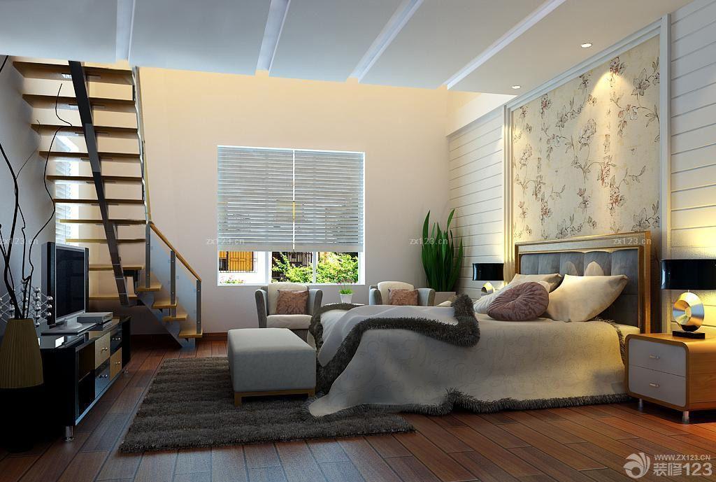 80平小复式卧室墙面壁纸装修效果图图片