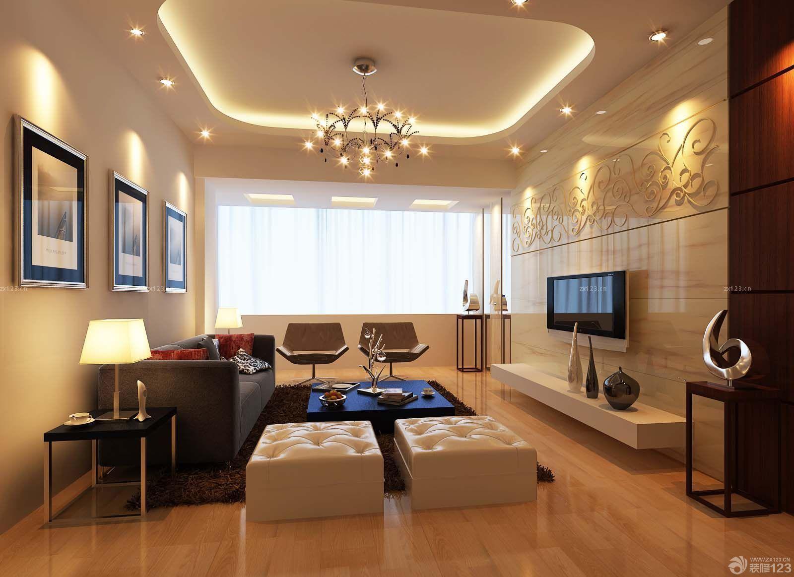 现代家装80平小复式客厅装修效果图图片