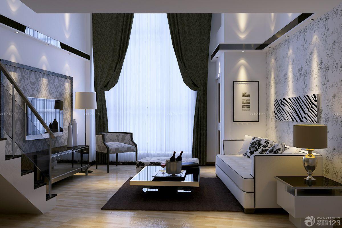 80平小复式花藤壁纸客厅装修效果图图片