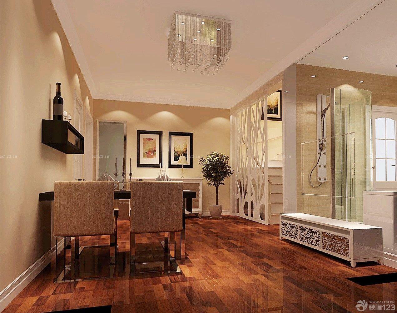 80平小复式浅棕色木地板装修效果图图片