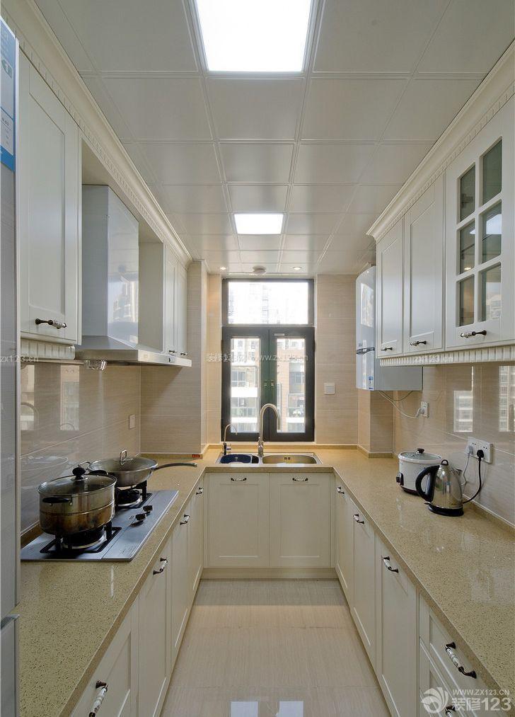 欧式风格90平米房屋厨房橱柜装修样板间