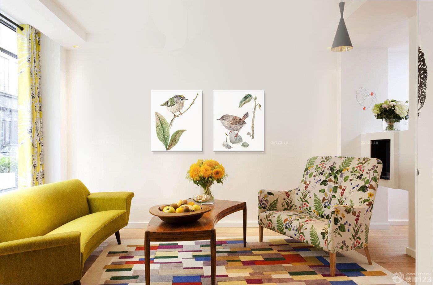 个性时尚60平米客厅异形茶几装修设计案例