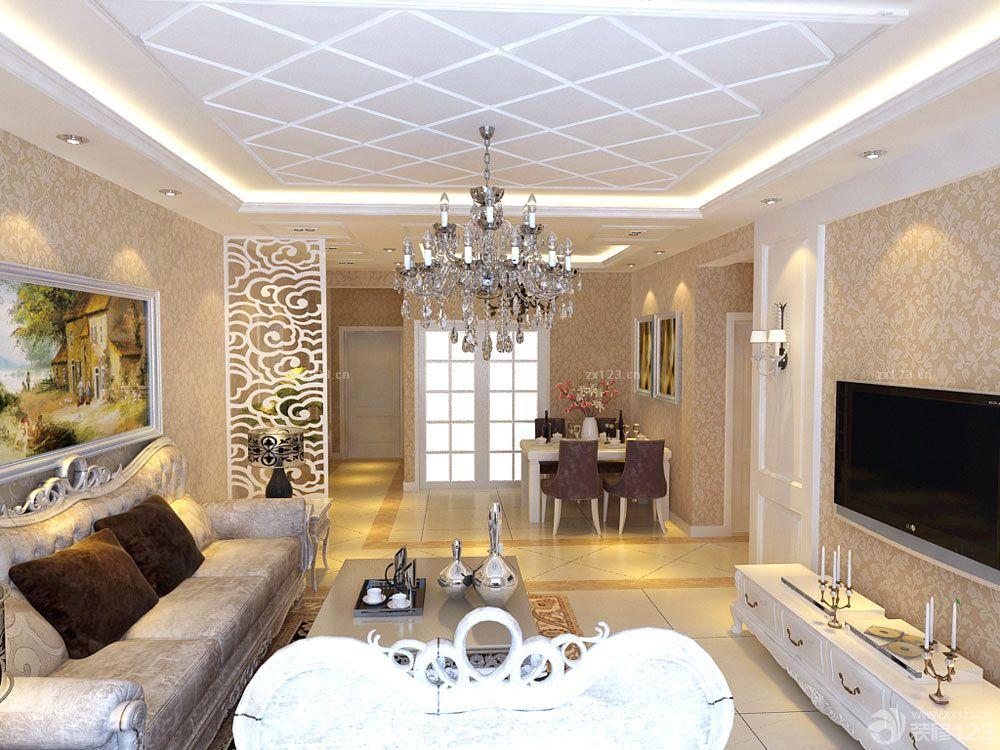 客厅平板石膏线吊顶 图片素材