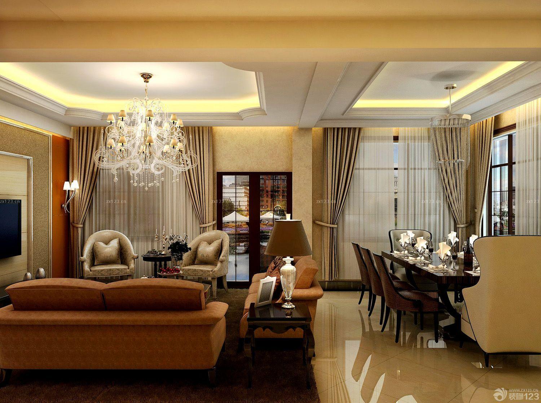 纯欧式复古120平米三室一厅客厅装修效果图