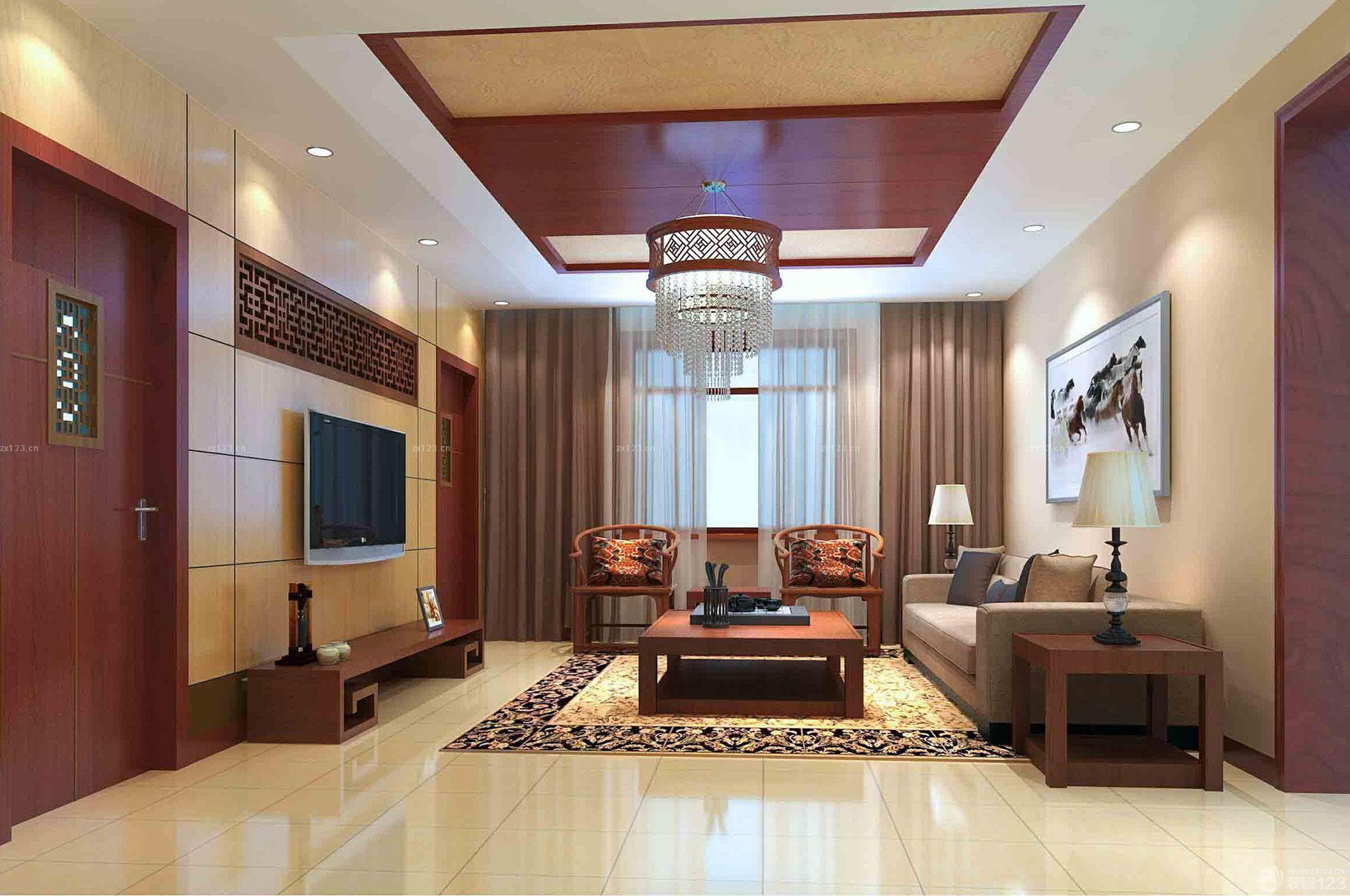 新中式风格80个平方客厅吊顶装修设计图图片