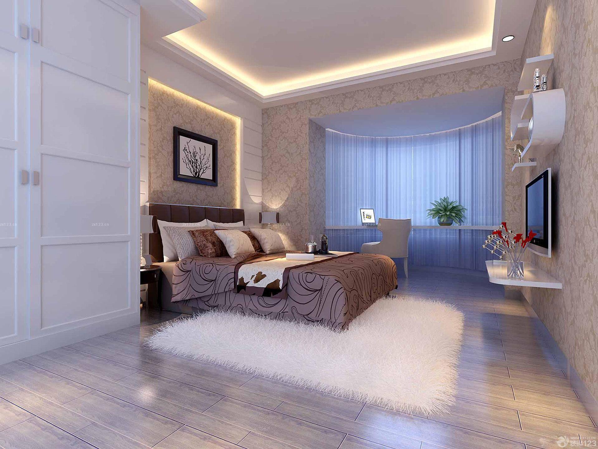 简欧风格80平米两居小户型主卧室装修效果图图片