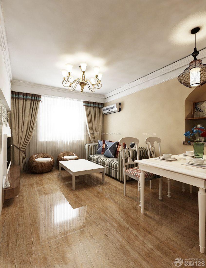 简约欧式风格60平小户型客厅餐厅一体装修案例