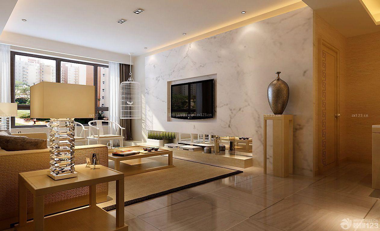 雅致简欧式120平米客厅装修样板房_装修123效果图图片