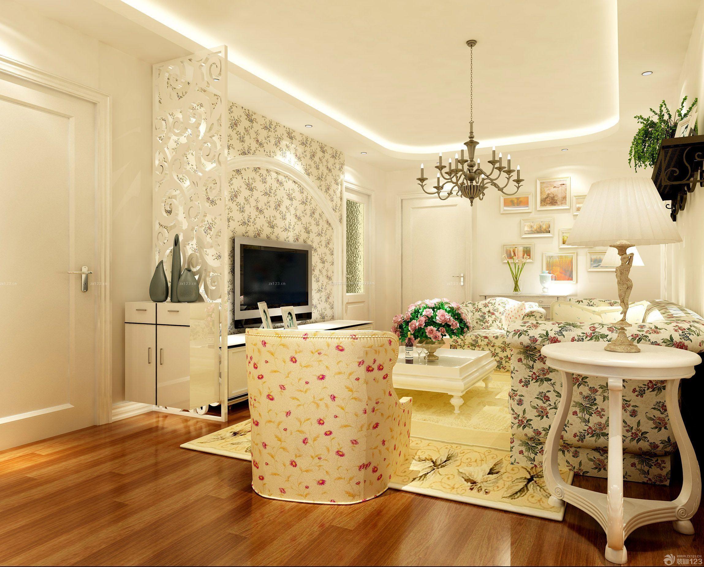 欧式田园风格8万三居室130平米装修图片大全