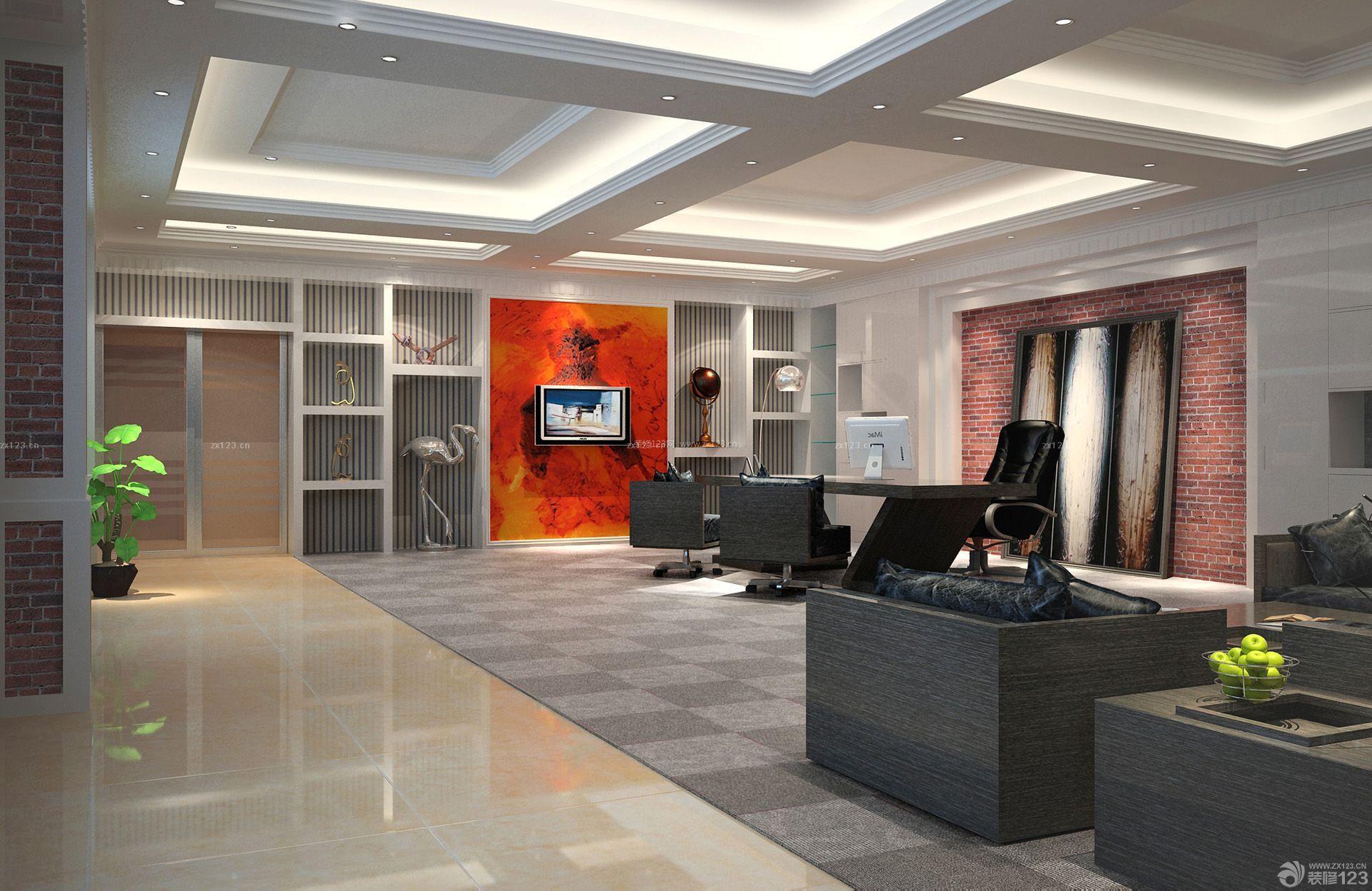 80平米办公室石膏板吊顶装修设计效果图