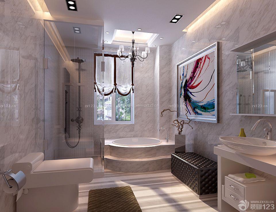 最新简欧式120平米卫生间浴室装修样板房
