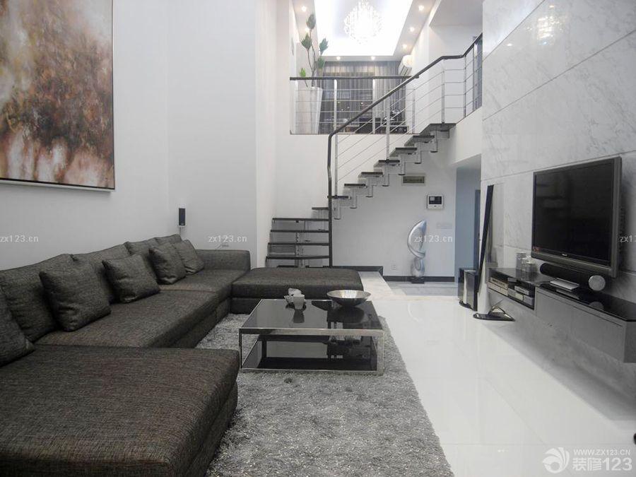 100平米楼中楼客厅组合沙发装修效果图片