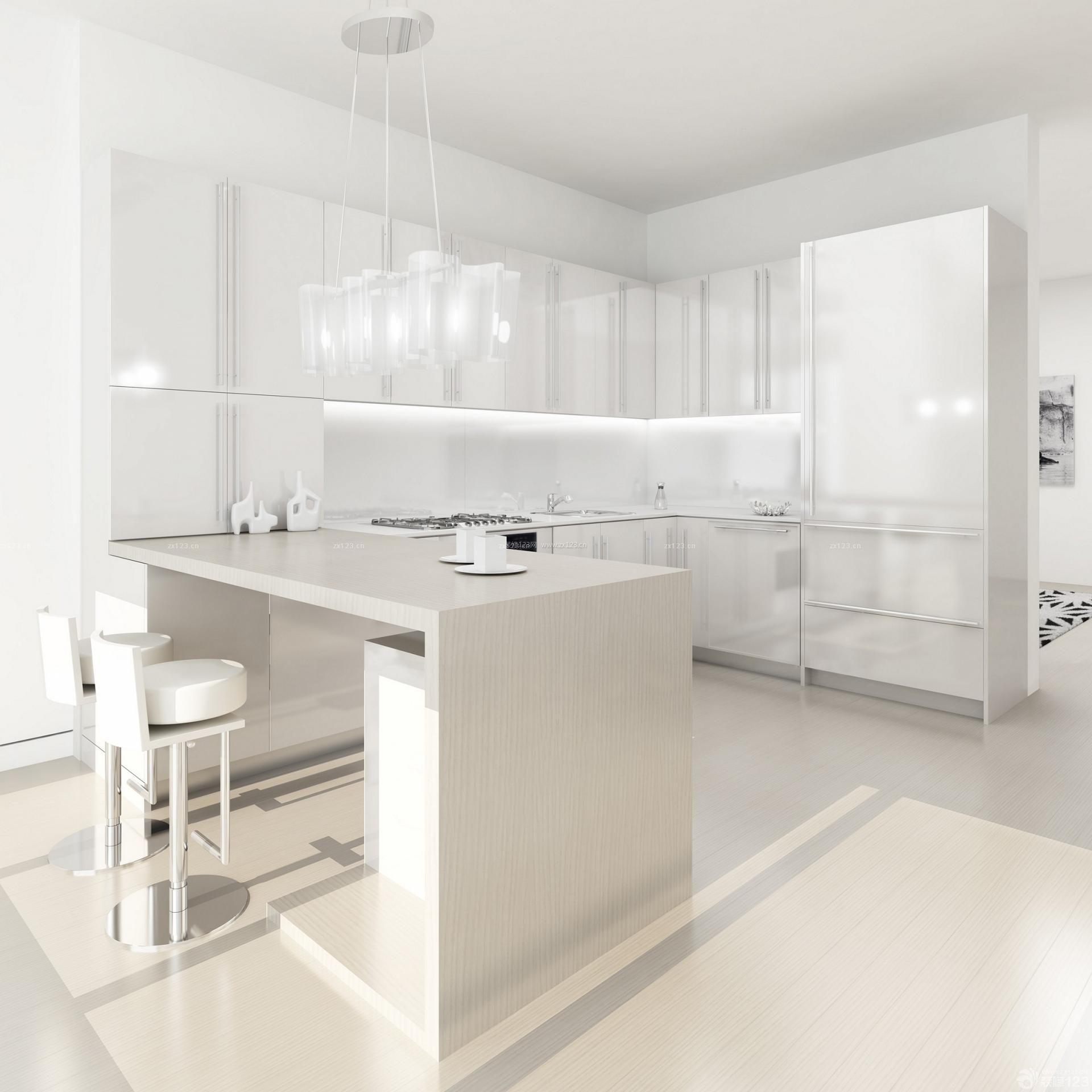 开放式厨房白色木地板装修效果图片