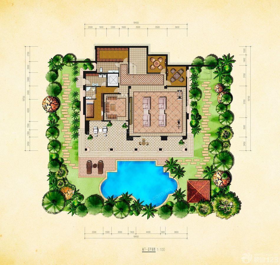 110平米别墅家用游泳池设计户型图