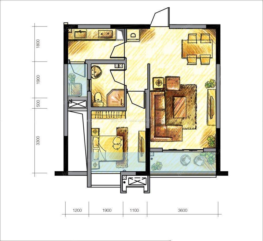 60平米小户型设计图一室一厅一卫户型图欣赏