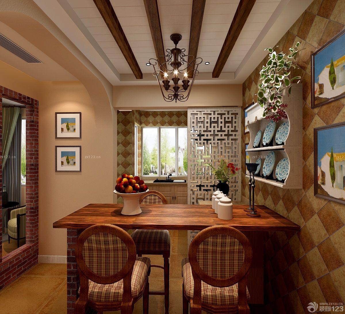 70平米复式楼餐厅设计装修效果图片