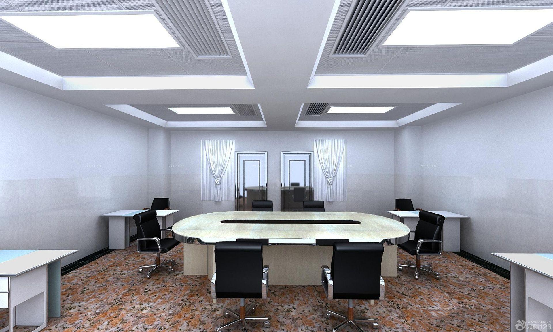 80平米办公室浅黄色木地板装修效果图