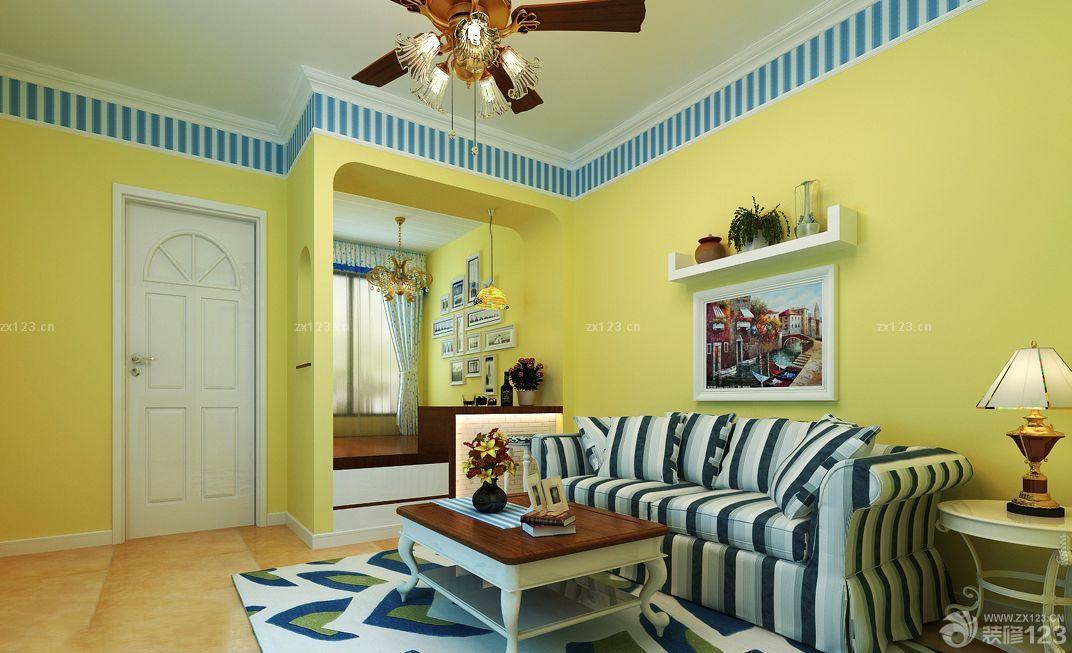 美式田园风格3室1厅80平米黄色墙面装修效果图图片