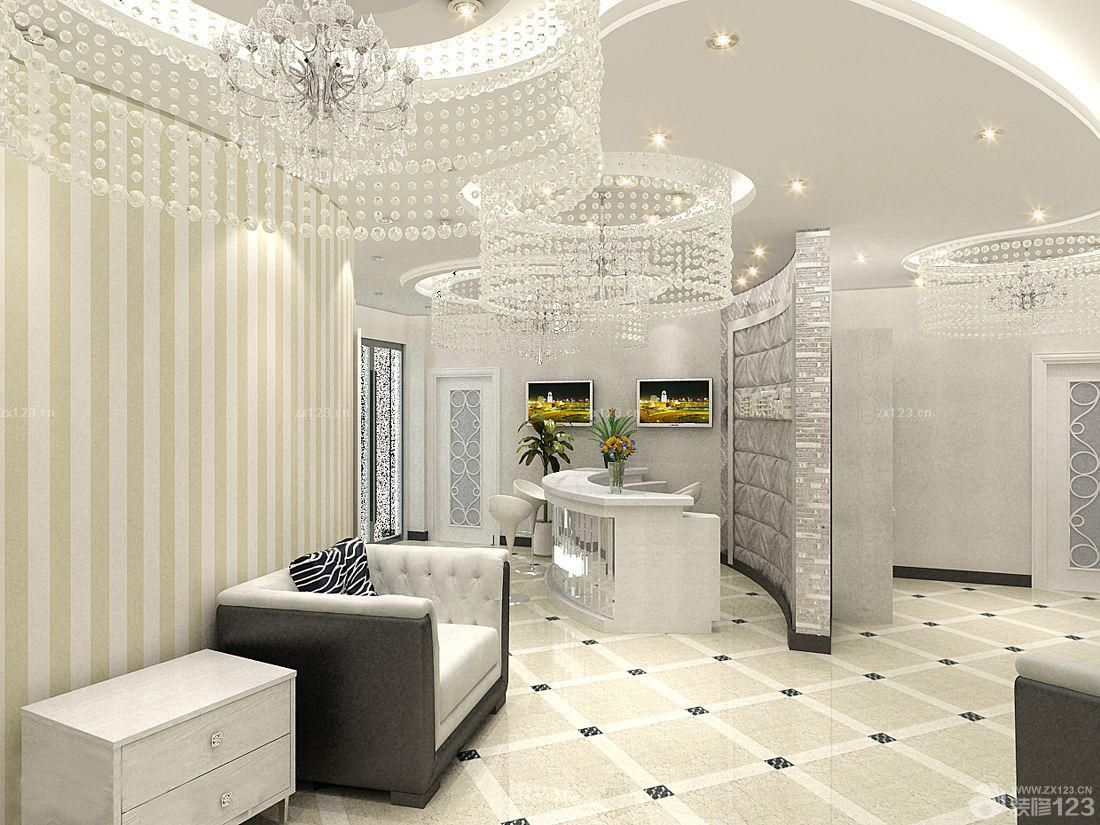 大型美容院艺术水晶灯装修效果图片