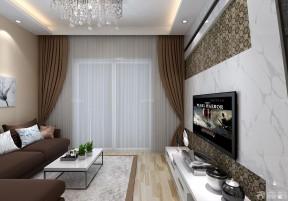60平方兩室一廳裝修效果圖 咖啡色窗簾裝修效果圖片