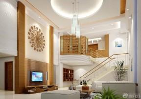 自建房楼梯设计效果图 挑高客厅装修效果图图片