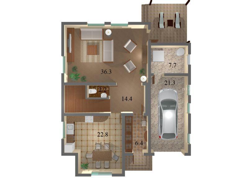 最新美式120平米单身公寓别墅设计图纸图片