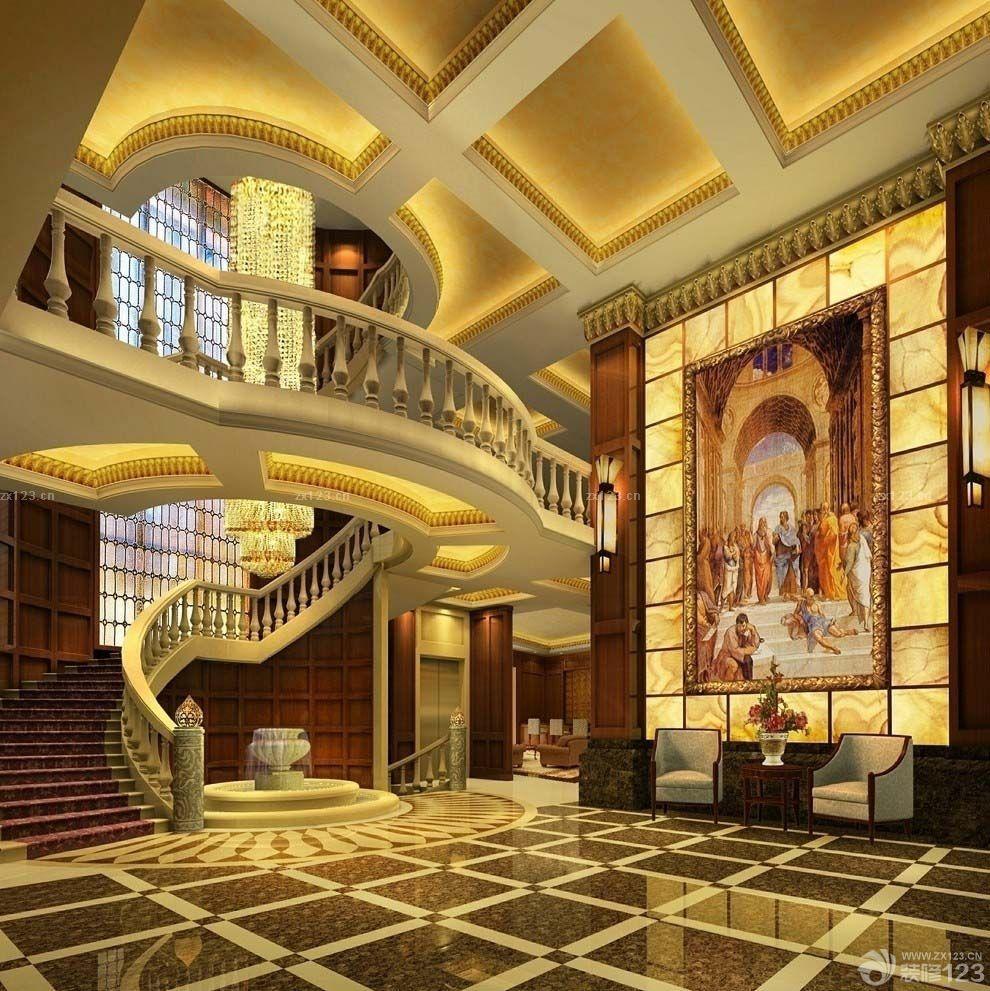 欧式风格150平方米跃层室内旋转楼梯装修图片欣赏