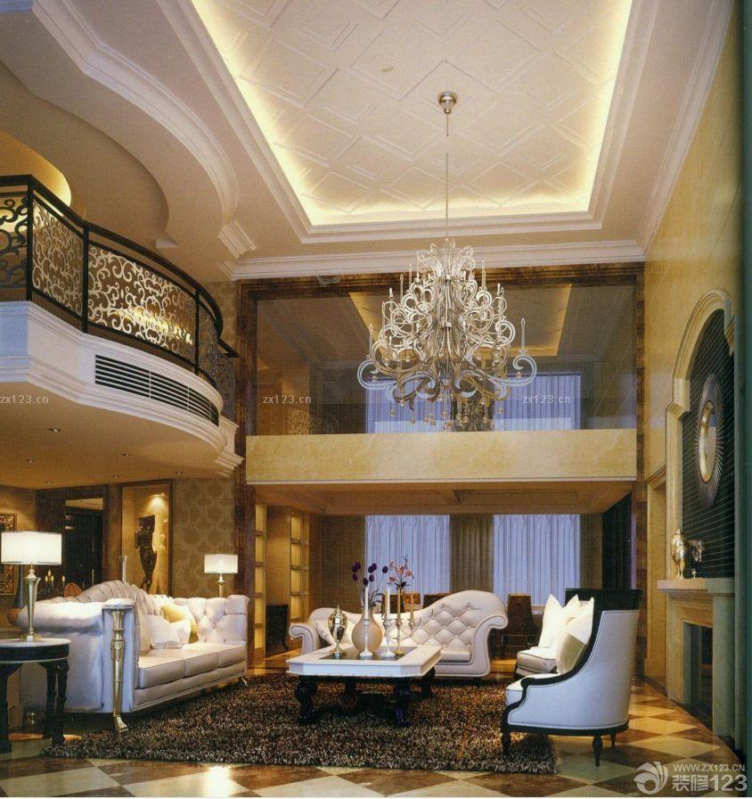 150平方米跃层欧式风格客厅吊顶装修效果图片