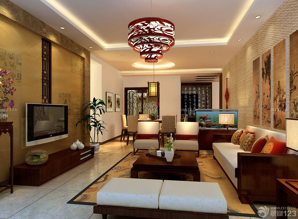 最新中式风格家装90平米房屋客厅装修效果图
