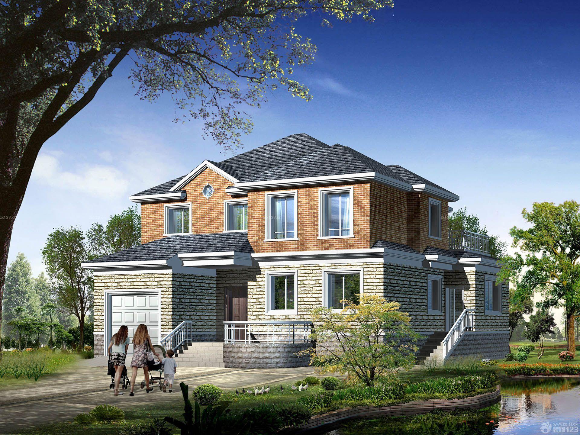 农村二层小别墅外墙砖设计效果图