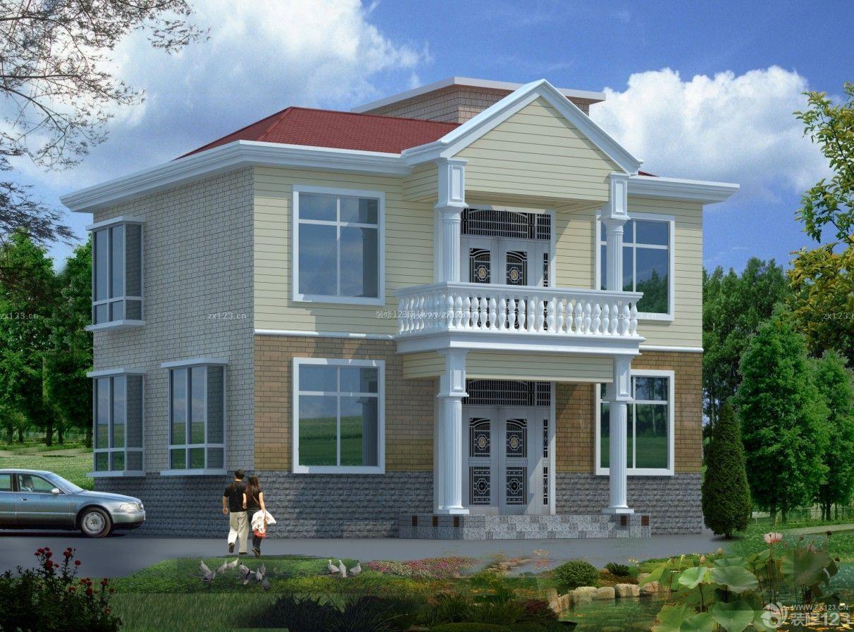 现代农村二层小别墅外观设计效果图