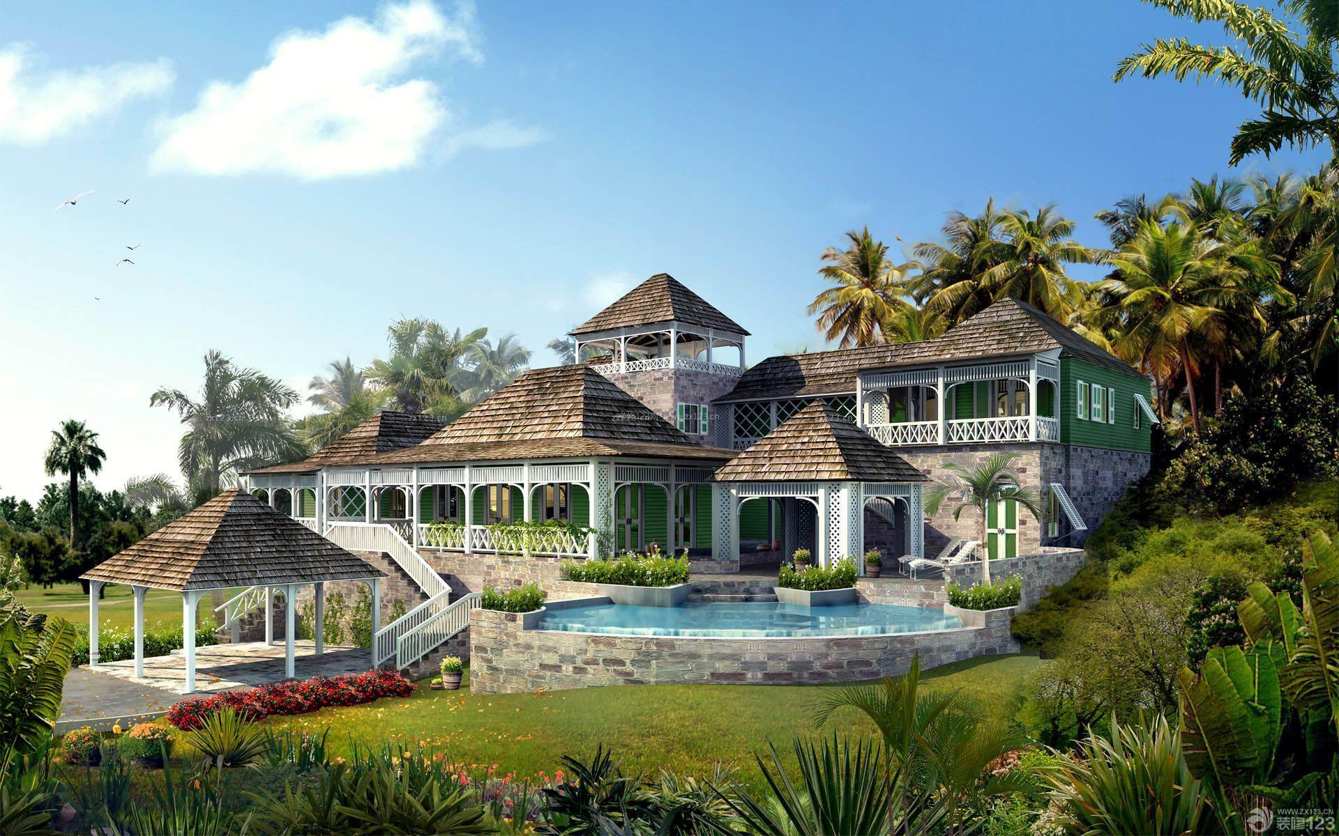 农村私人二层小别墅庭院设计效果图