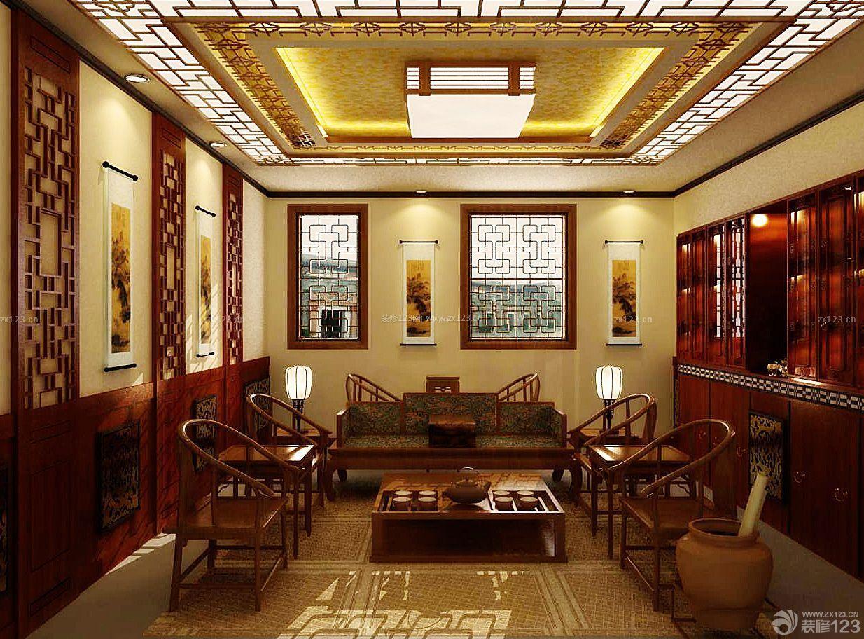 中式茶馆手绘墙面装修效果图