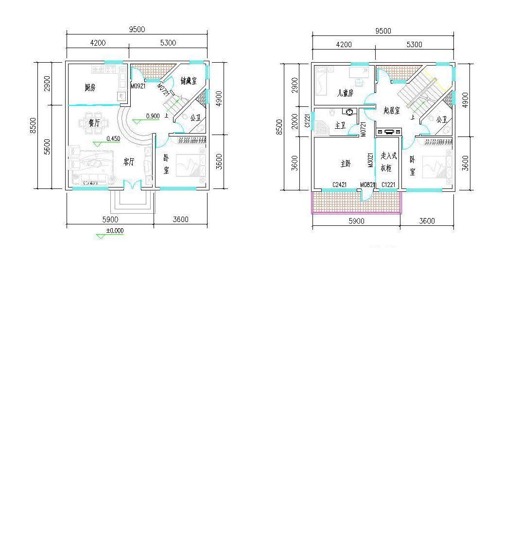 两房80平米小户型平面图设计图纸_装修123效果图
