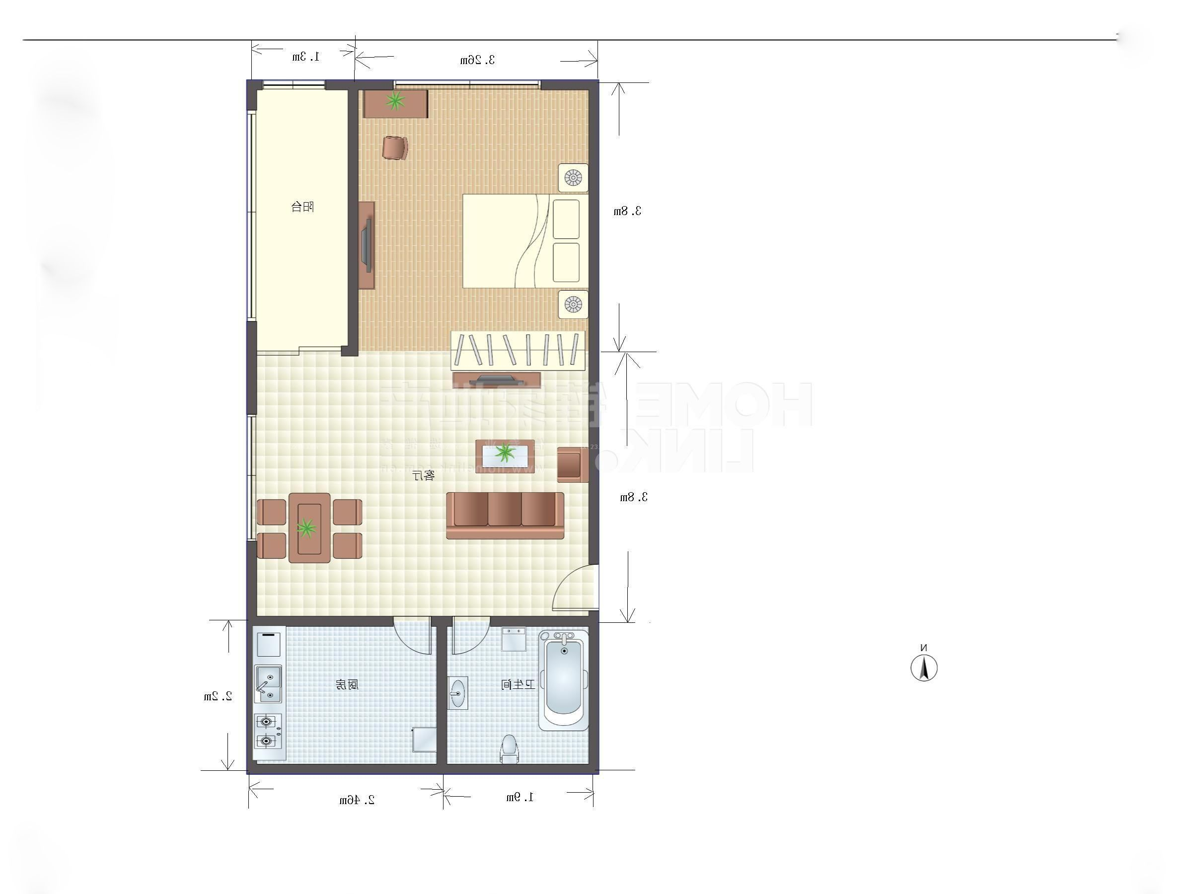 长方形80平米小户型平面图设计