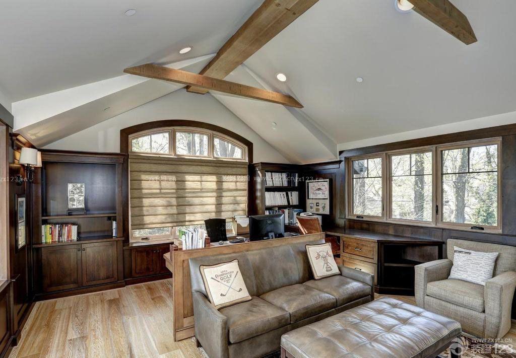 70平米小户型样板房美式风格阁楼客厅装修效果图图片