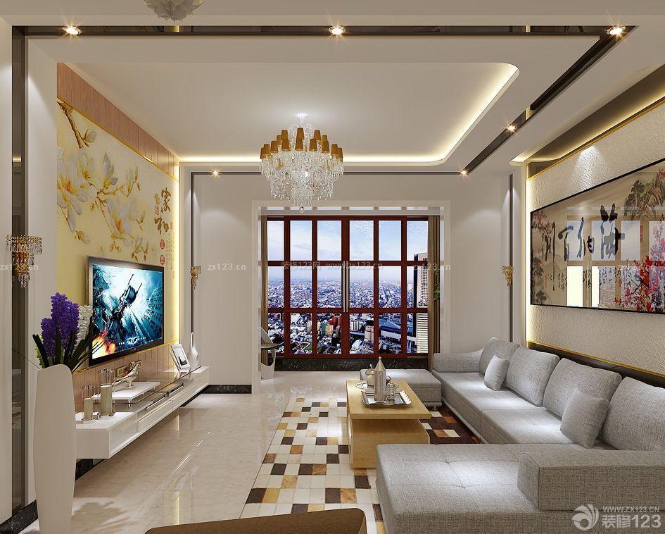 家装现代中式风格电视背景墙设计效果图