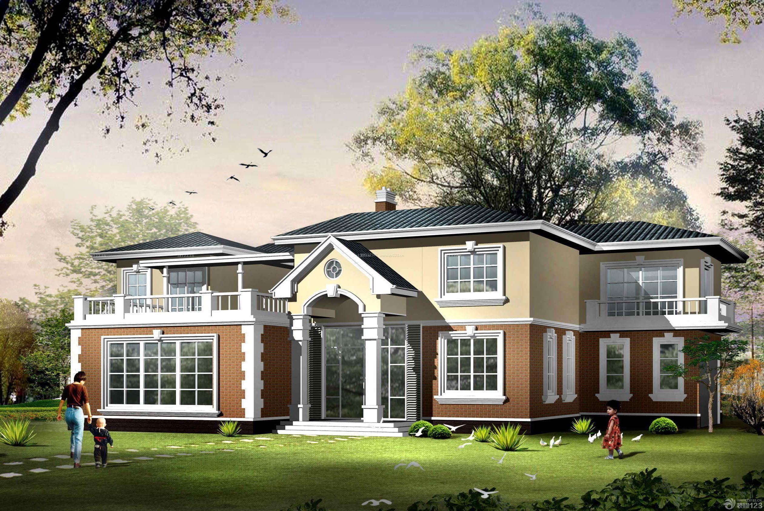 北欧风格120平方别墅外观设计图_装修123效果图