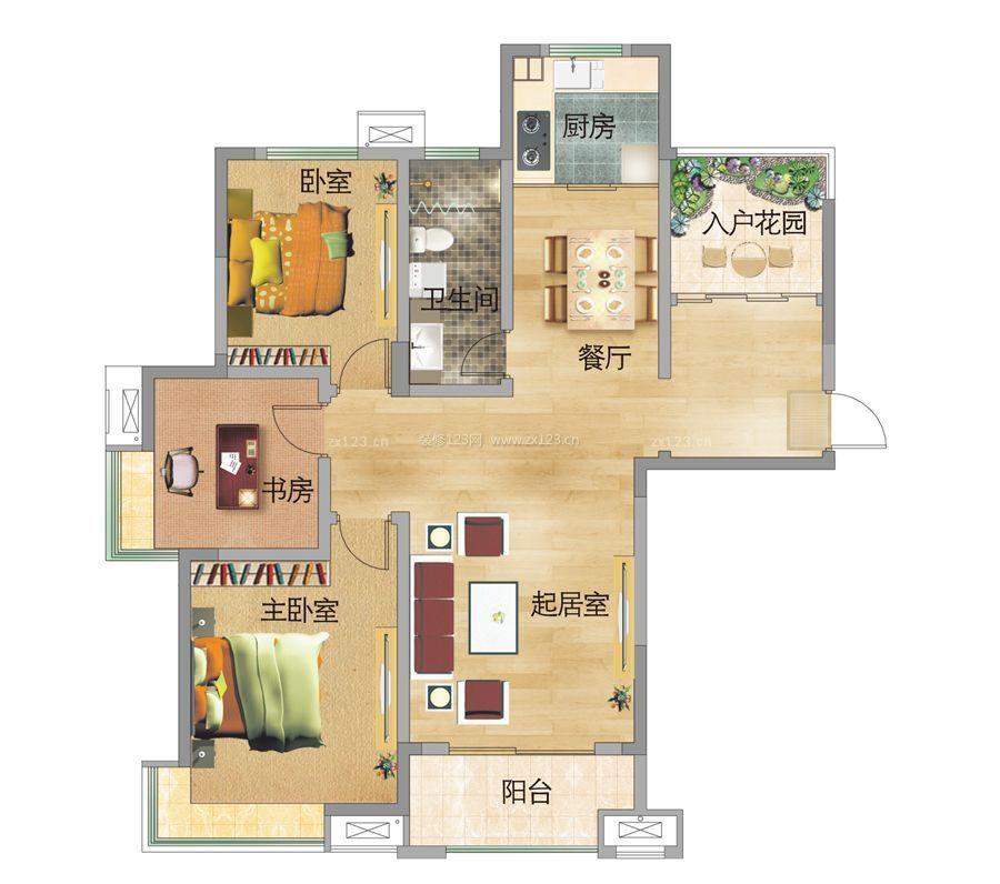 最新100平方两室两厅一厨一卫别墅户型图