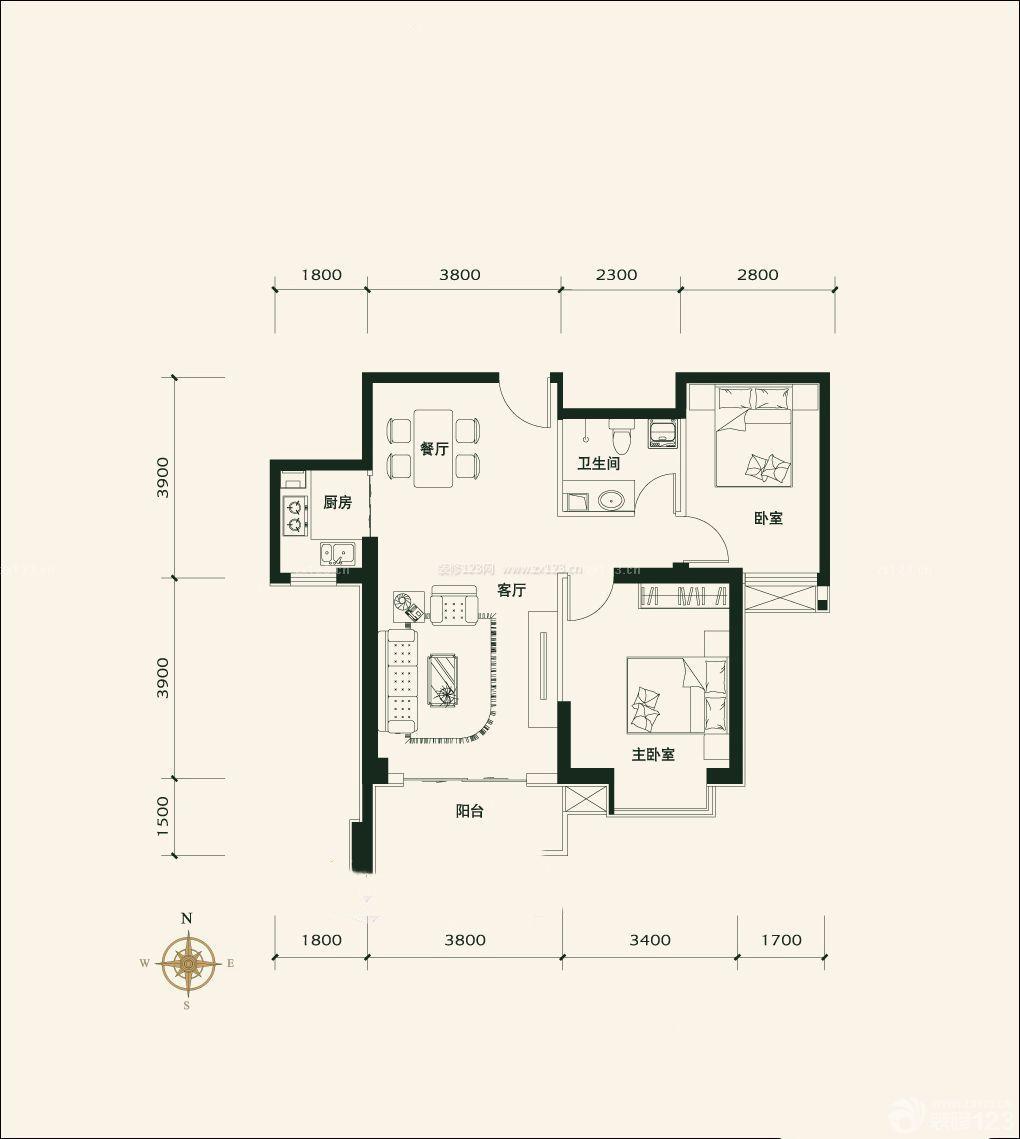 长方形80平米小户型平面图设计_装修123效果图