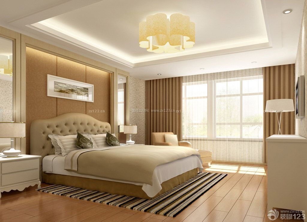 70-80平米房屋卧室背景墙装修效果图