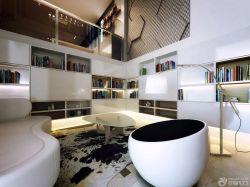 黑白時尚120平米復式樓客廳裝修圖